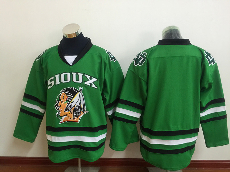 SexeMara Black Friday UND University North Dakota Fighting Sioux Jerseys Mens Black White Green Home Hockey Jersey S-XXXL