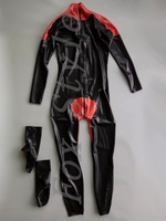 Rubber catsuit with socks separated Men 's latex zentais front zipper to ass main black and red trim
