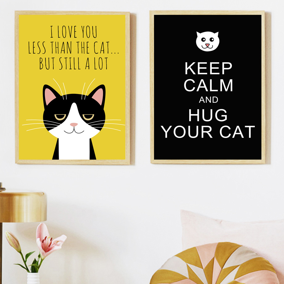 Cat keep Keep Calm Quotes Wall Art Canvas Painting Nordic Posters ...