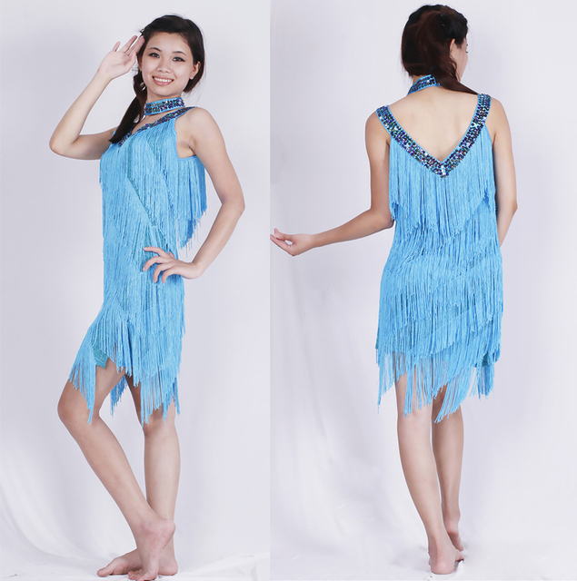 vintage tassel dress for women in turquoise
