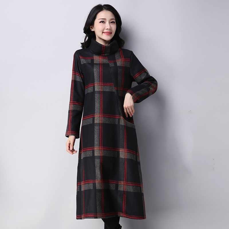 Длинный рукав хлопок шерстяное плюс размер винтажное клетчатое женское повседневное свободное осенне-зимнее элегантное платье одежда 2019 платья