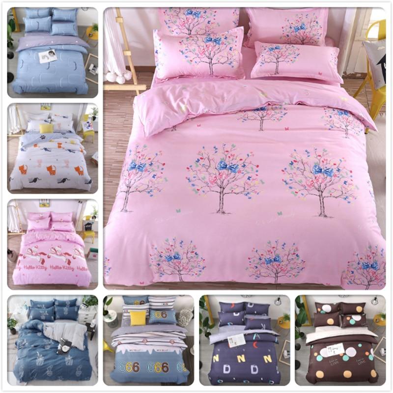 3/4 pcs Bedding Set Kids Girl Pink AB Side Duvet Cover Quilt Comforter Case Flat Sheet Pillowcase Cotton Bed Linen 1.5m 1.8m 2m
