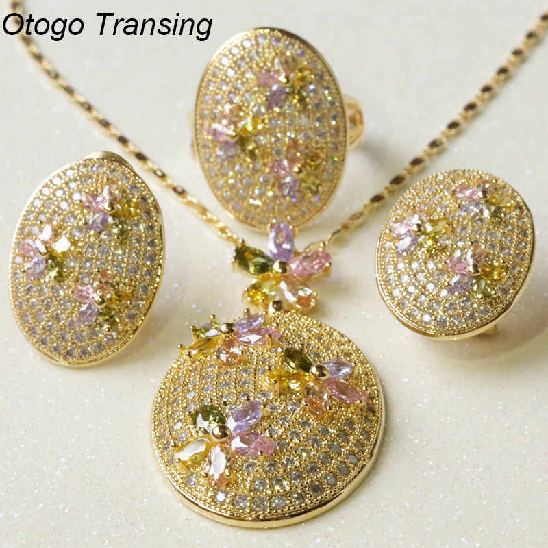 Otogo Transing 2019 New Fashion Jewelry SetYellow Color For Women Flower Fashion Multicolor Crystal Ring Earrings Necklace S275