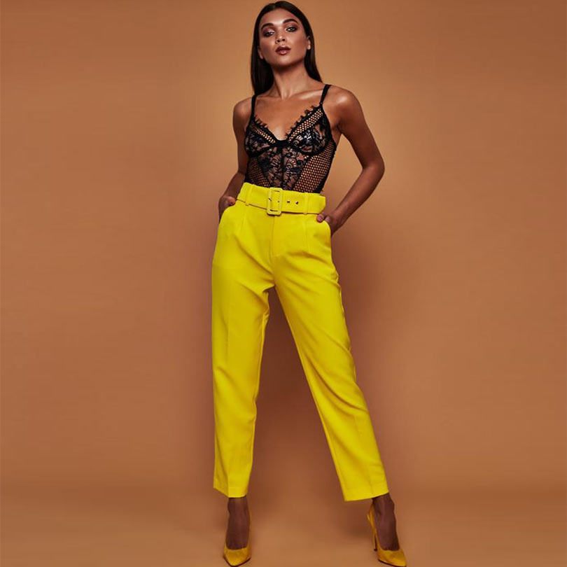 Belt office lady yellow pants