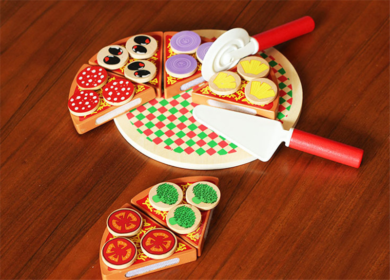 New wooden toy wooden blocks Kitchen toy wood pizza food game baby educational toy Food simulation toy Free shipping in Kitchen Toys from Toys Hobbies