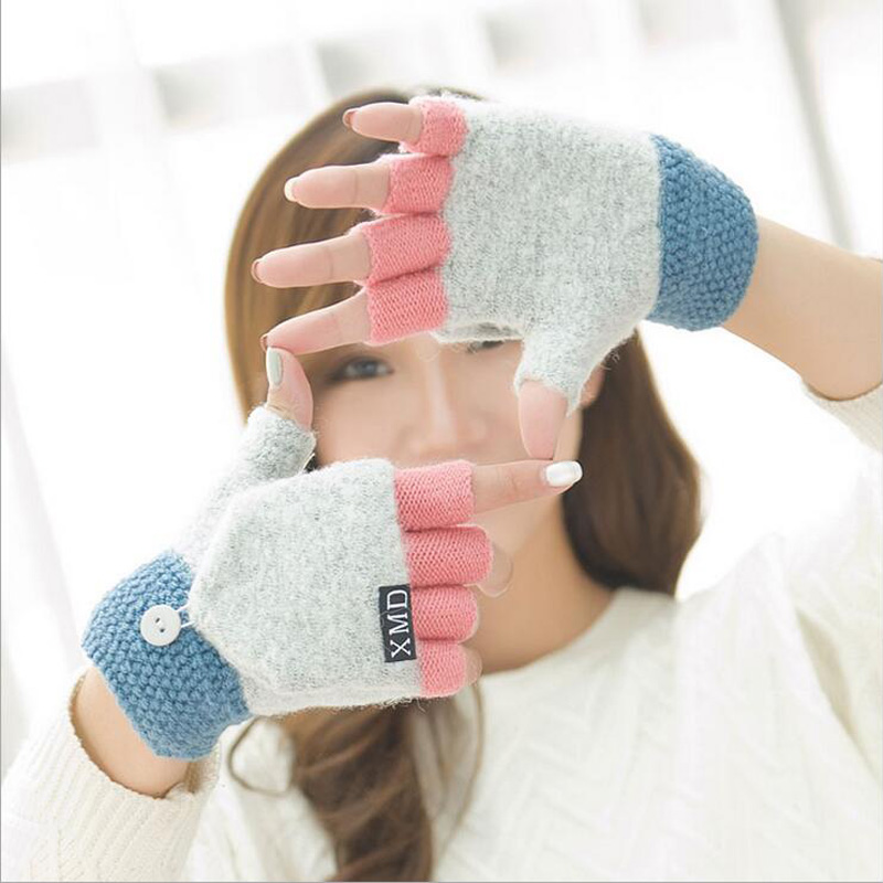 Fashion Lovely Female Winter Acrylic Knit Warm Half Finger Clamshell Gloves Women Double Thicker Gloves Cute Two Uses Mitten G55