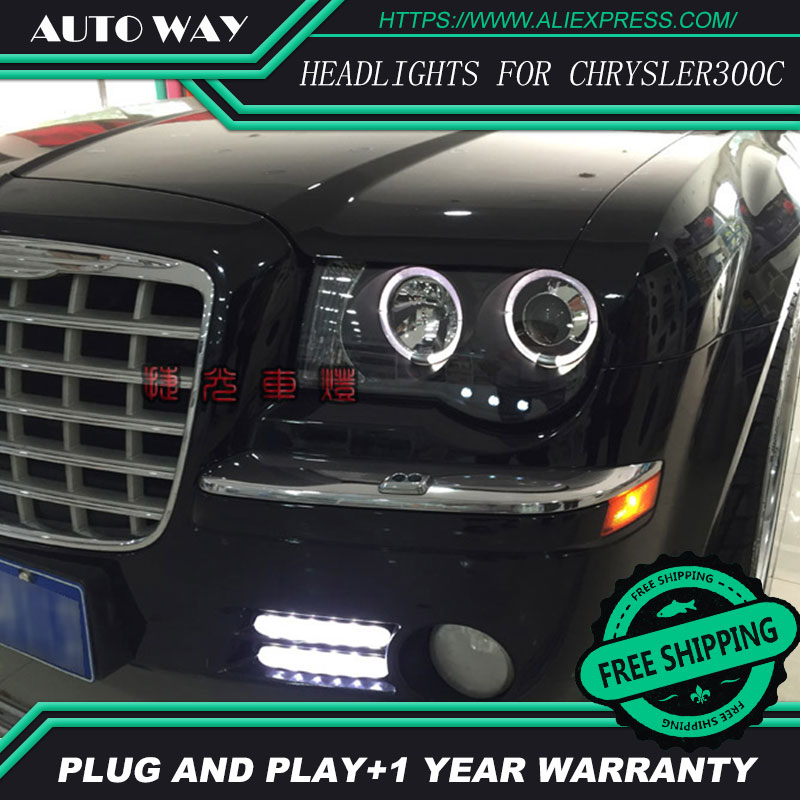 Car Styling Head Lamp for Chrysler 300C Chrysler300C Headlights LED Headlight DRL Daytime Running Light Bi-Xenon Lens HID Double цены