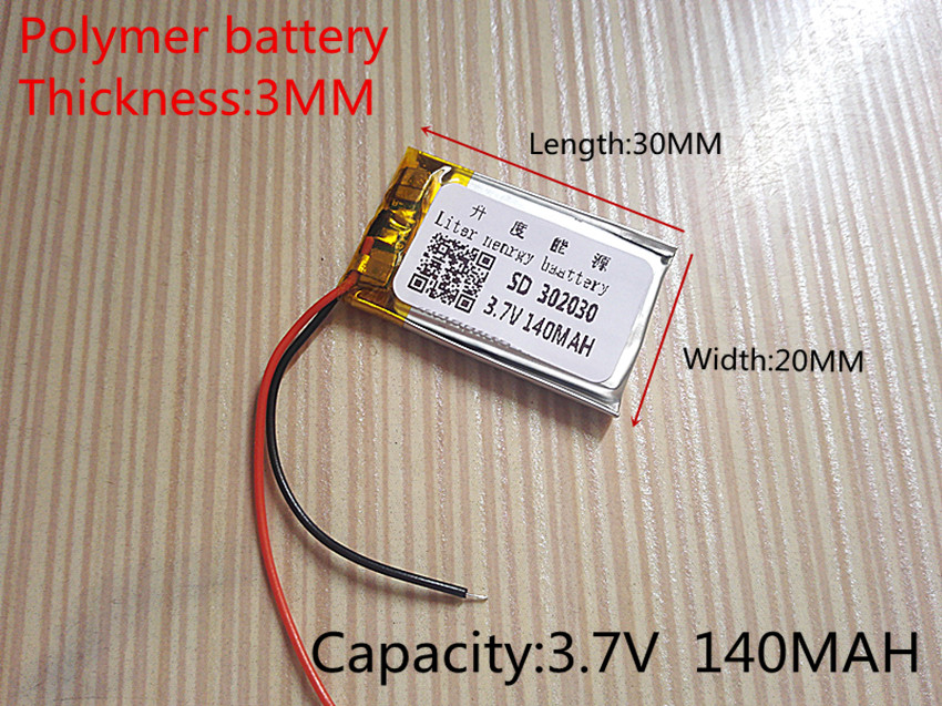 3.7V lithium battery 302030 032030 140mah MP3 MP4 GPS Bluetooth cell battery toys 5pcs size 401037 3 7v 140mah lithium polymer battery with protection board for bluetooth mp3 mp4 gps digital products f