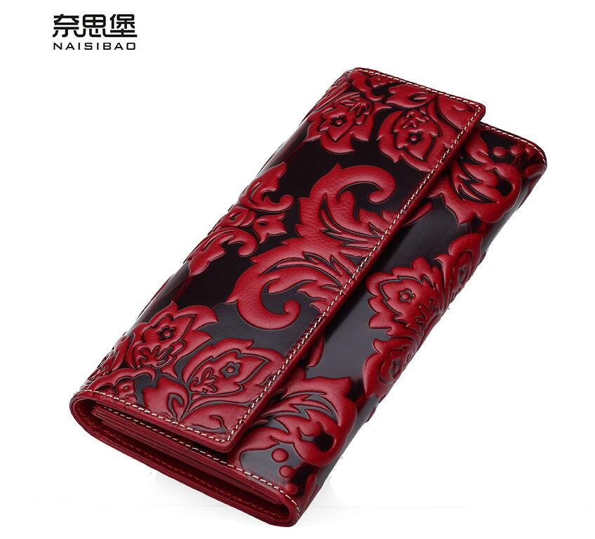 High quality Chinese style Genuine Leather Vintage female purse name brand fashion flower pattern Clutch Wallet women bag цена