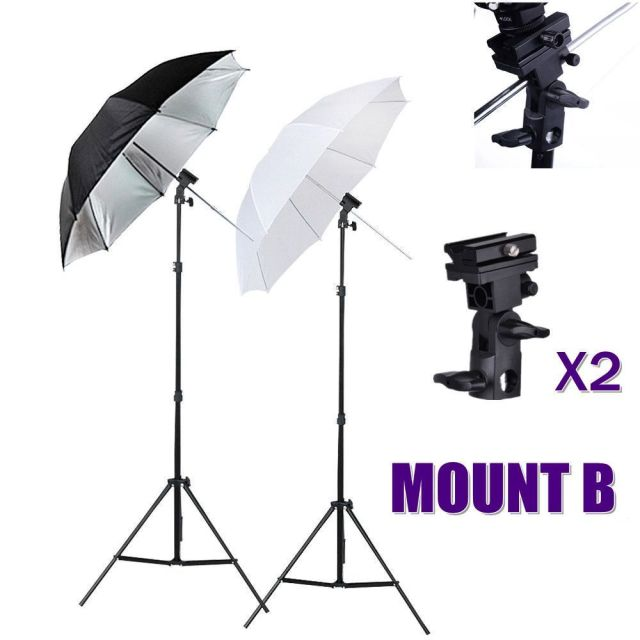photo studio flash speedlight umbrella lighting light stand kit + 2 2 Umbrella Stand