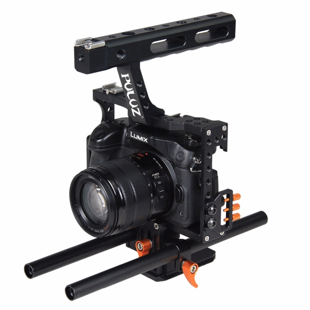 PULUZ Handle Video Camera Cage Steadicam Stabilizer for Sony A7 & A7S & A7R & A7R II & A7S II for Panasonic Lumix DMC-GH4 viltrox 15mm rod rig dslr video cage kit stabilizer handle grip follow focus for sony a7ii a7r a7s a6300 panasonic gh4 m5