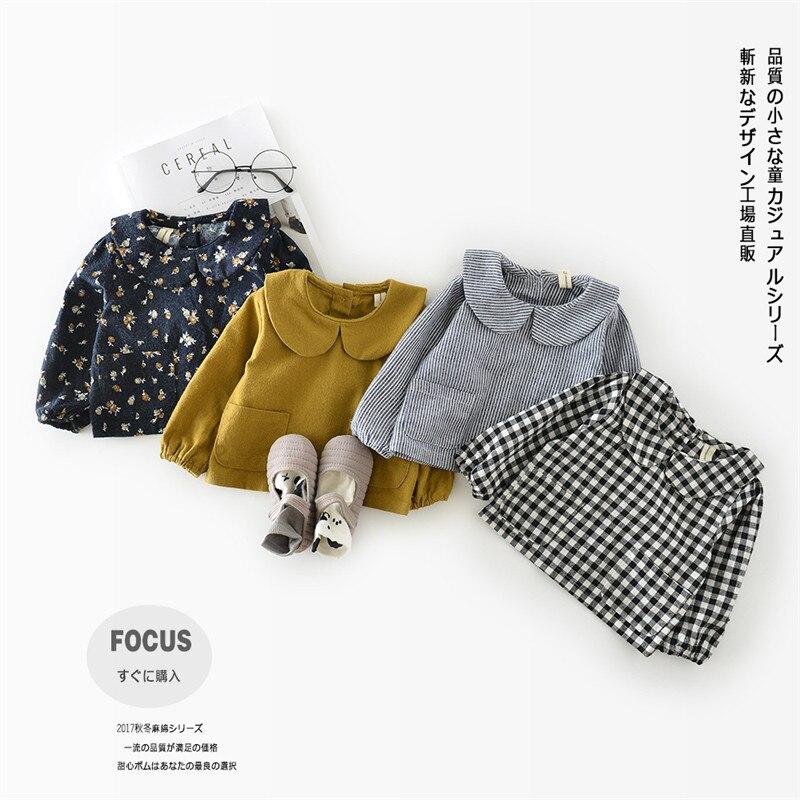 New Children's T-Shirt Spring Autumn 100% Cotton Striped Plaid Kid's Princess Shirt Baby Girls Clothing Soft Tops Blouses Shirts