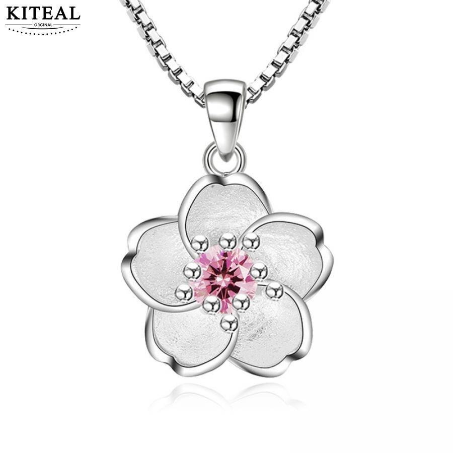 Sterling Silver 3D Cherry Peach Blossom Flower Necklace Bracelet Pendant Charm I