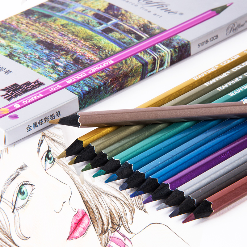 все цены на 12 Colors Metallic Color Pencil Set Wood Pencil Metal Crayon Painting Drawing Stationery School Supplies
