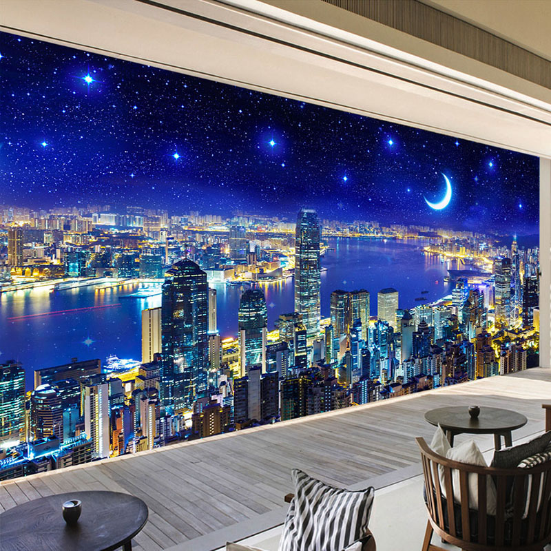 Modern Night City Wall Mural Wallpaper Roll 3D Stereo Office Living Room Wall Papers Wall Coating Home Decor With European Style milan classical wall papers home decor non woven wallpaper roll embossed simple light color living room wallpapers wall mural