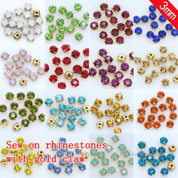 Jewelry-Making-Beads Gold-Base 4-Hole-Button Rhinestone Crystal Glass-Sew Garment-Accessories