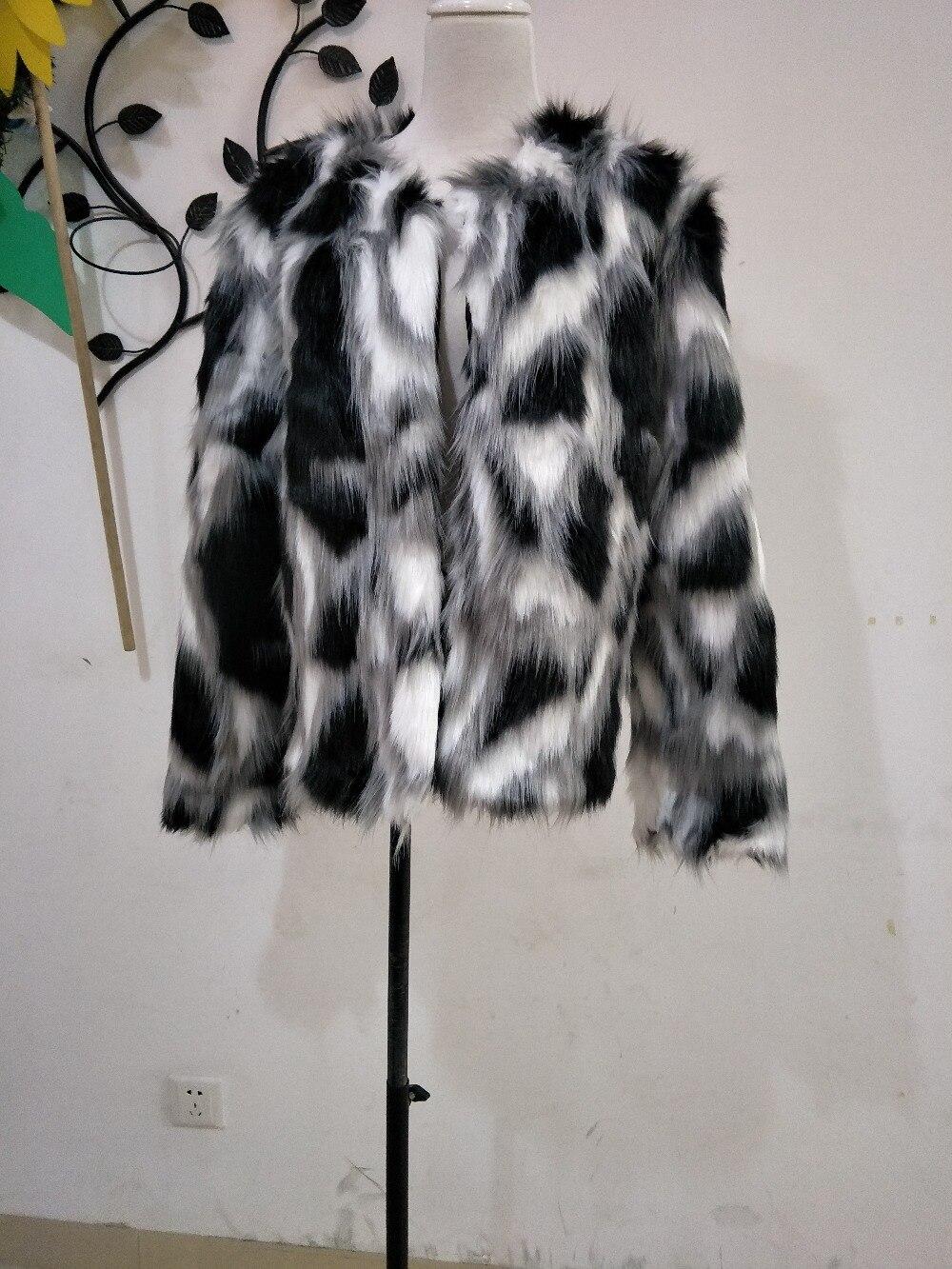 Women Mixed Color Man-Made Fur Jacket Casual Plus Size Faux Fur Coats Female Short Section Fur Outwear Casaco De Pele Falso Ck43 3