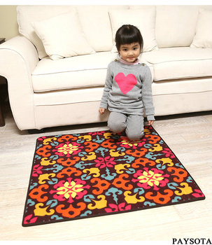 PAYSOTA European Style Flowers Carpet  Painted Living Room Bedroom Rug Square Non-slip Mats
