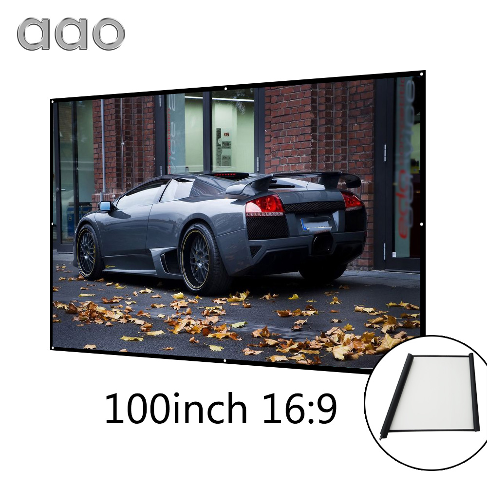 AAO 100 inch 16 9 Projection Screen Simple Wrap Fabric Roll Up Projector Screen 100 16