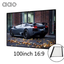 AAO 100 inch 16:9 Projection Screen Simple Wrap Fabric Roll Up Projector Screen 100″ 16:9 Portable Business Meeting Home Theater