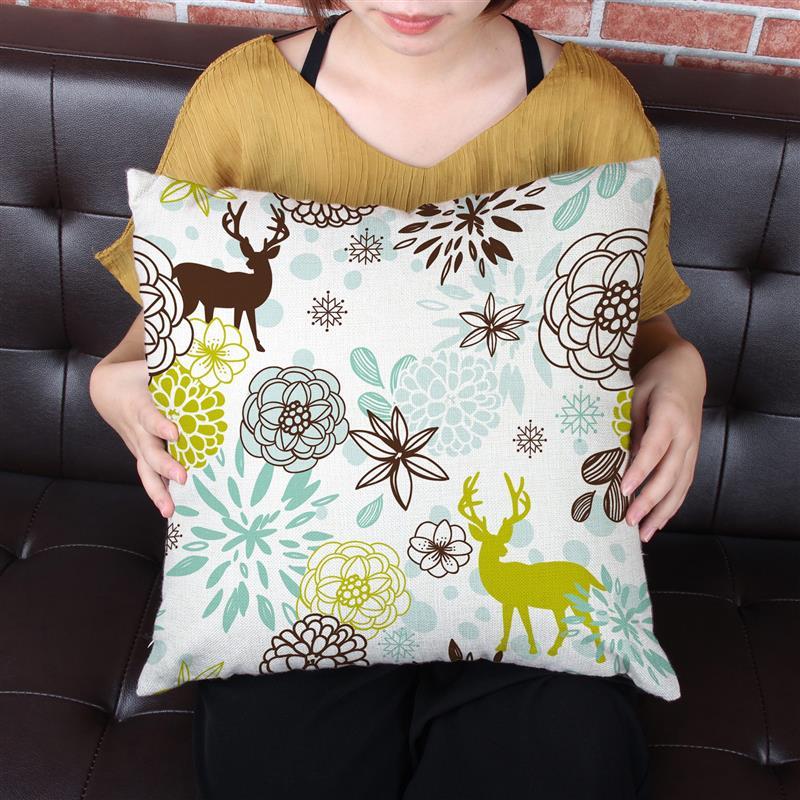 45*45 см квадратный Подушки Чехлы для мангала олени с цветочным принтом Подушки Чехол для украшения дома диван офисное кресло автокресло поду...