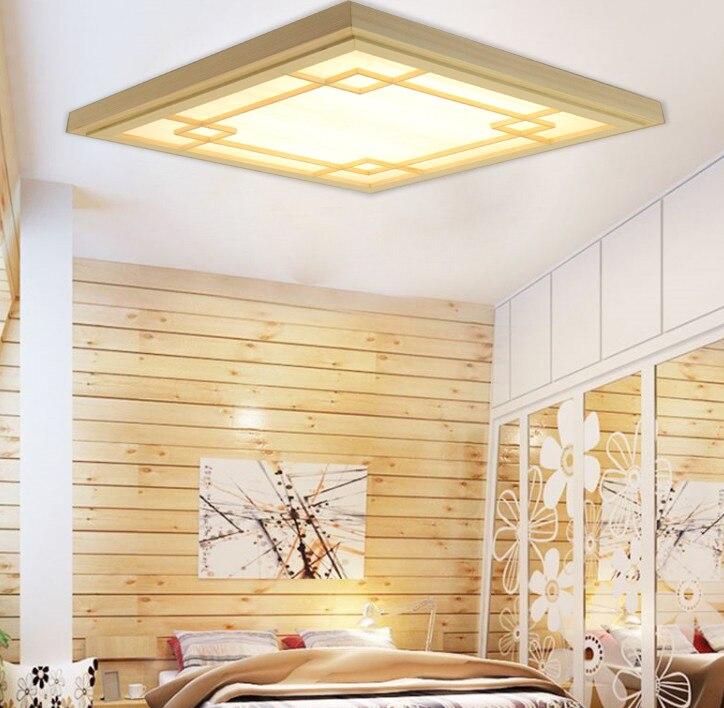 Японский стиль татами деревянный светодиодный потолочный светильник Pinus Sylvestris ультратонкий натуральный цвет квадратная сетка бумага пото
