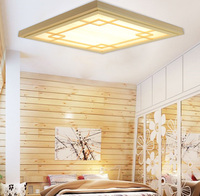 Japanese Style Tatami Wood led Ceiling light Pinus Sylvestris Ultrathin Natural Color Square Grid Paper Ceiling Lamp Fixture