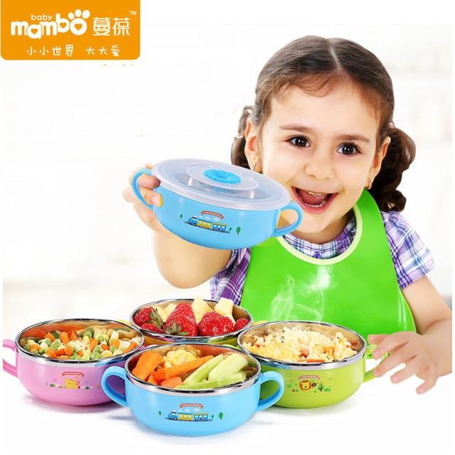 Anti-estouro selado 400 ml 304 stainless steel binaural tigela pratos anti-quentes dos desenhos animados do bebê do bebê de alimentação do bebê prato quatro estilos