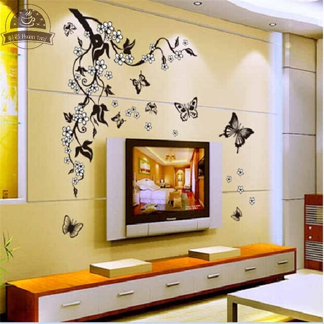 Erfly Flowers Living Room Sofa Wallpaper Poster Vinyl Wall Stickers Home Decor Family Decals Art