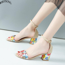 WHOSONG 2019 summer new womens shoe round head high heel belt buckle fashion non-slip party dress women sandals M180