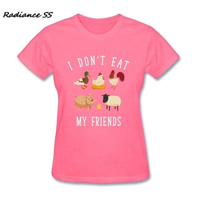 3c56104b7 Camisa nova T Mulheres Manga Curta Vegan Vegetariano Eu não Comer Os Meus  Amigos Impressão Roupas