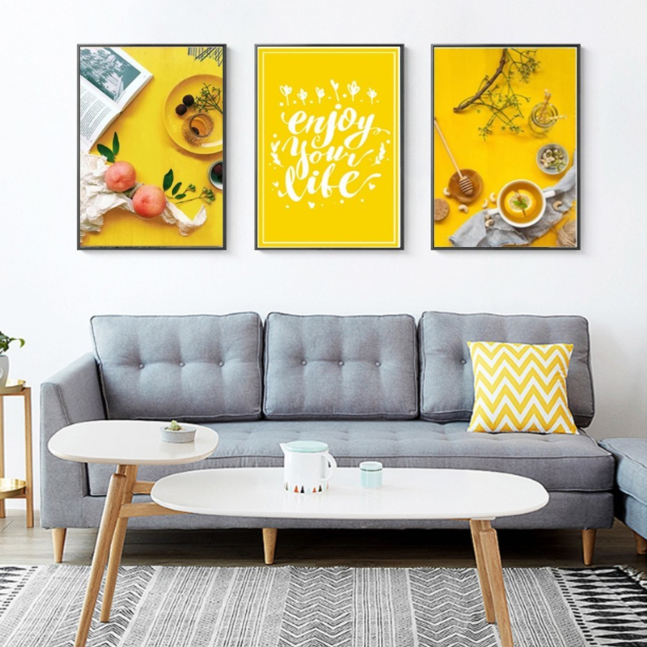Modern Food Tea Poster Life Quote Yellow Background Canvas Paintings Wall Art Pictures Poster Print Dinning Room Home Decoration