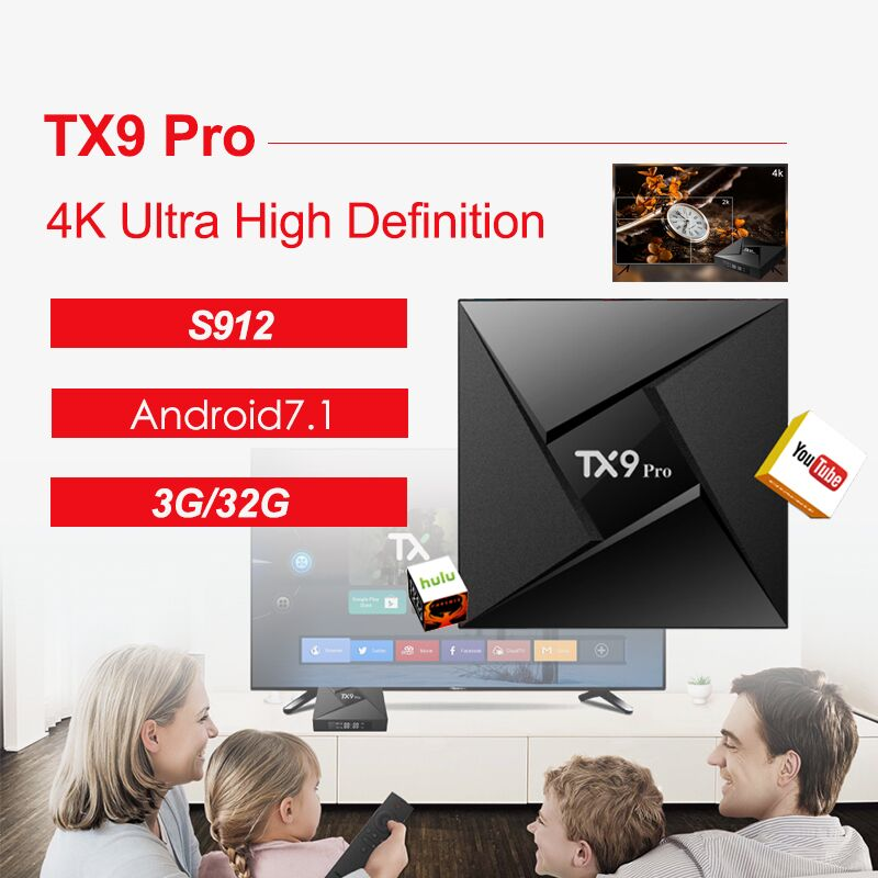 Tanix TX9 Pro Android 7.1 TV Box Amlogic S912 Octa-core CPU Set-top TV Box 3GB 32G 4.1 1000M LAN Smart TV Box PK X92 x92 a912 ap6255 professional 2g 16g home tv box top s912 octa core cpu wireless entertainment player us plug type