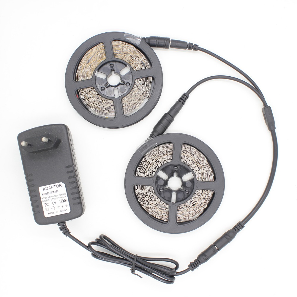 10 Meter SMD3528 LED Strip Kits 12V 2A Adapter And 300 Led Non-waterproof  IP22 No Lumens Loss Flexible Strip Light Warm White