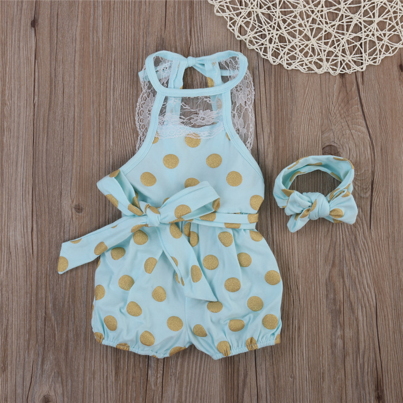 2017 xmas Kids Baby Girl Polka Dot Lace Outfit Sunsuit One piece font b Bodysuit b