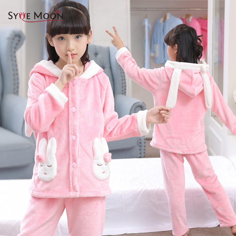 Syue Moon Girls Flannel Pajamas Sets Kids Rabbit Pyjamas Children warm thick Sleepwear Baby Boy Homewear Nightwear Clothes baby boy girls kid cartoon clothing pajamas sleepwear sets nightwear outfit children clothes