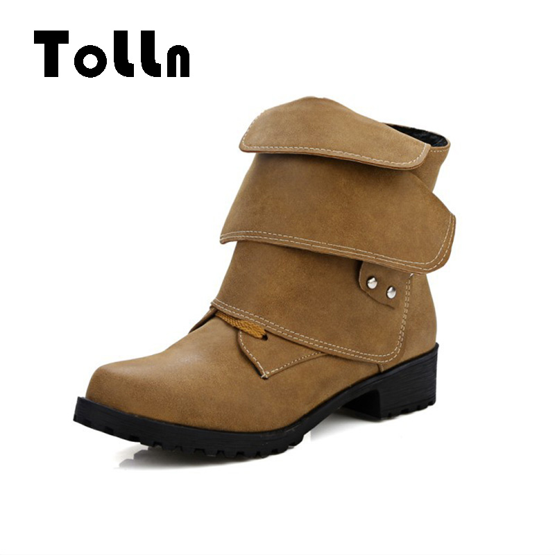 Large Size Shoes Woman Fashion Leather Motorcycle Ankle Boots Low Heels Lace-up Platform Comfortable Autumn Winter Boots bota enmayla ankle boots for women low heels autumn and winter boots shoes woman large size 34 43 round toe motorcycle boots