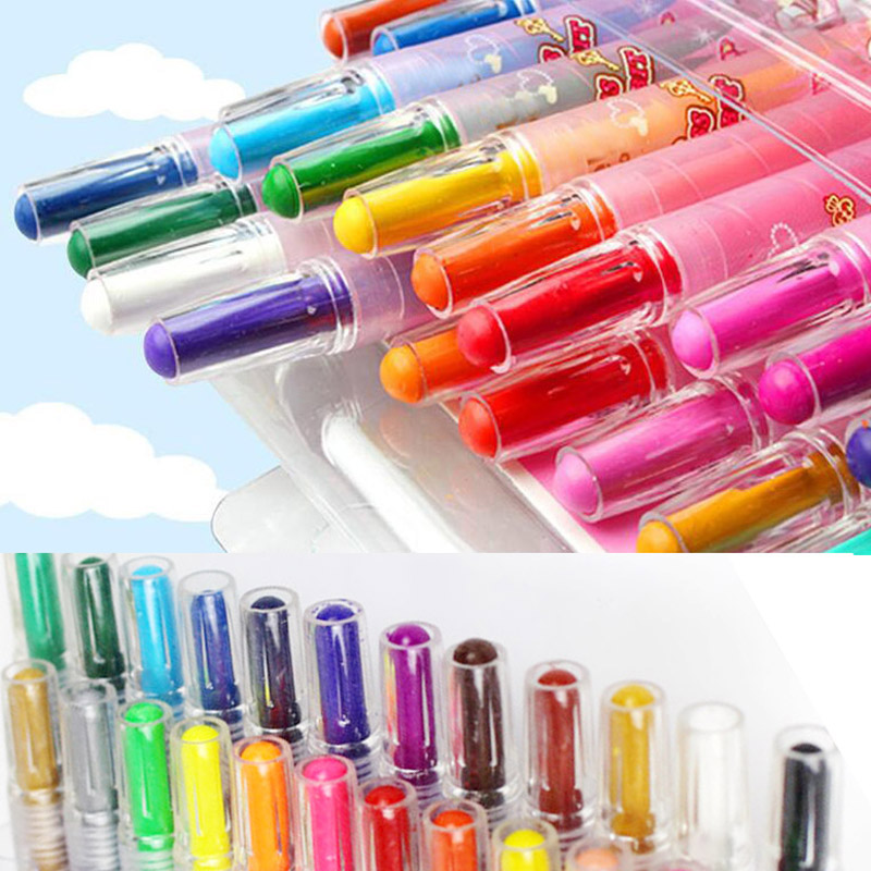 12/24 Colors Puzzle Baby boy girls Healthy Cartoon crayons for Drawing painting Rotate Wax crayons Stationery Gift Papelaria