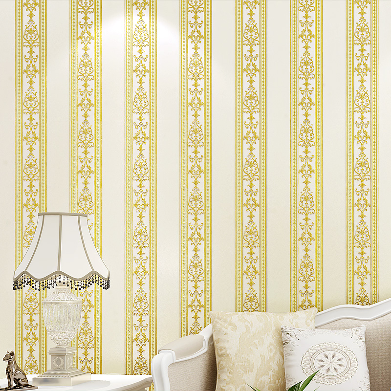 European Style Vertical Stripe Thickening Non-woven Damask Wallpaper 3D Relief Bedroom Living Room TV Background Wall Paper Roll blue earth cosmic sky zenith living room ceiling murals 3d wallpaper the living room bedroom study paper 3d wallpaper