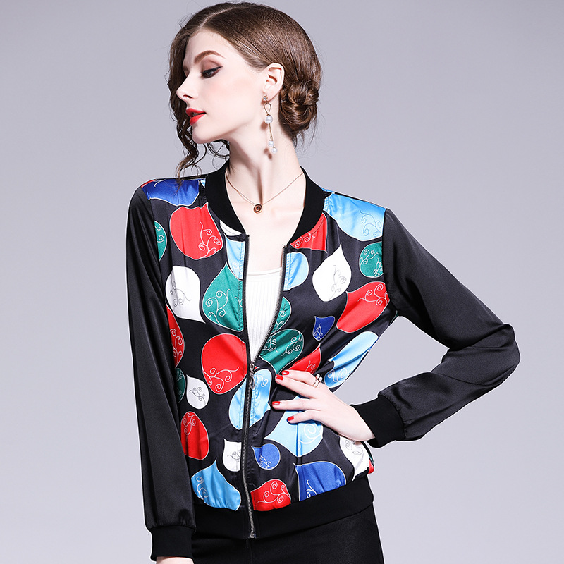 Women Stand Collar Print Slim Casual   Basic     Jacket   Female Fashion Elegant Chic Thin Baseball Cropped   Jacket   Bomber   Jackets   Coats