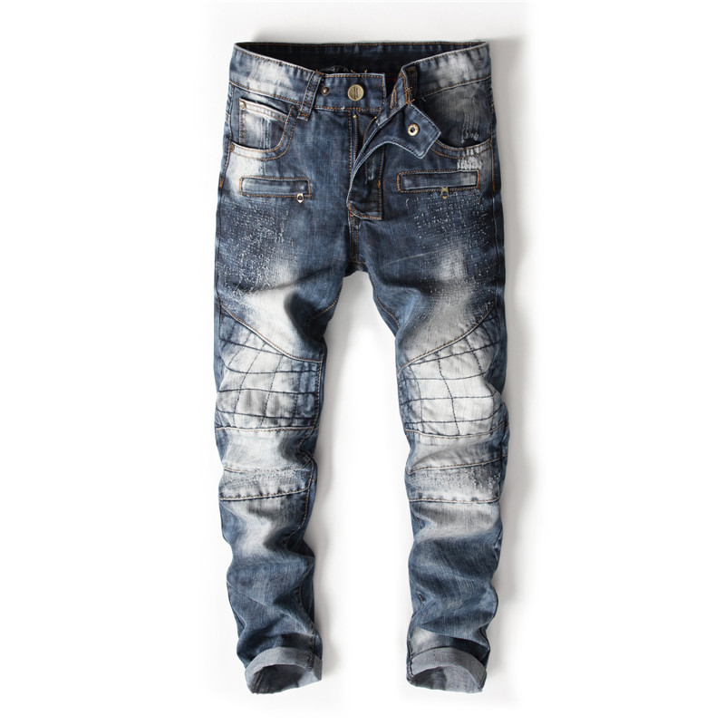 MORUANCLE New Fashion Men's Biker Jeans Slim Fit Straight Motorcycle Denim Pants Trousers For Man Washed Blue Size 29-38