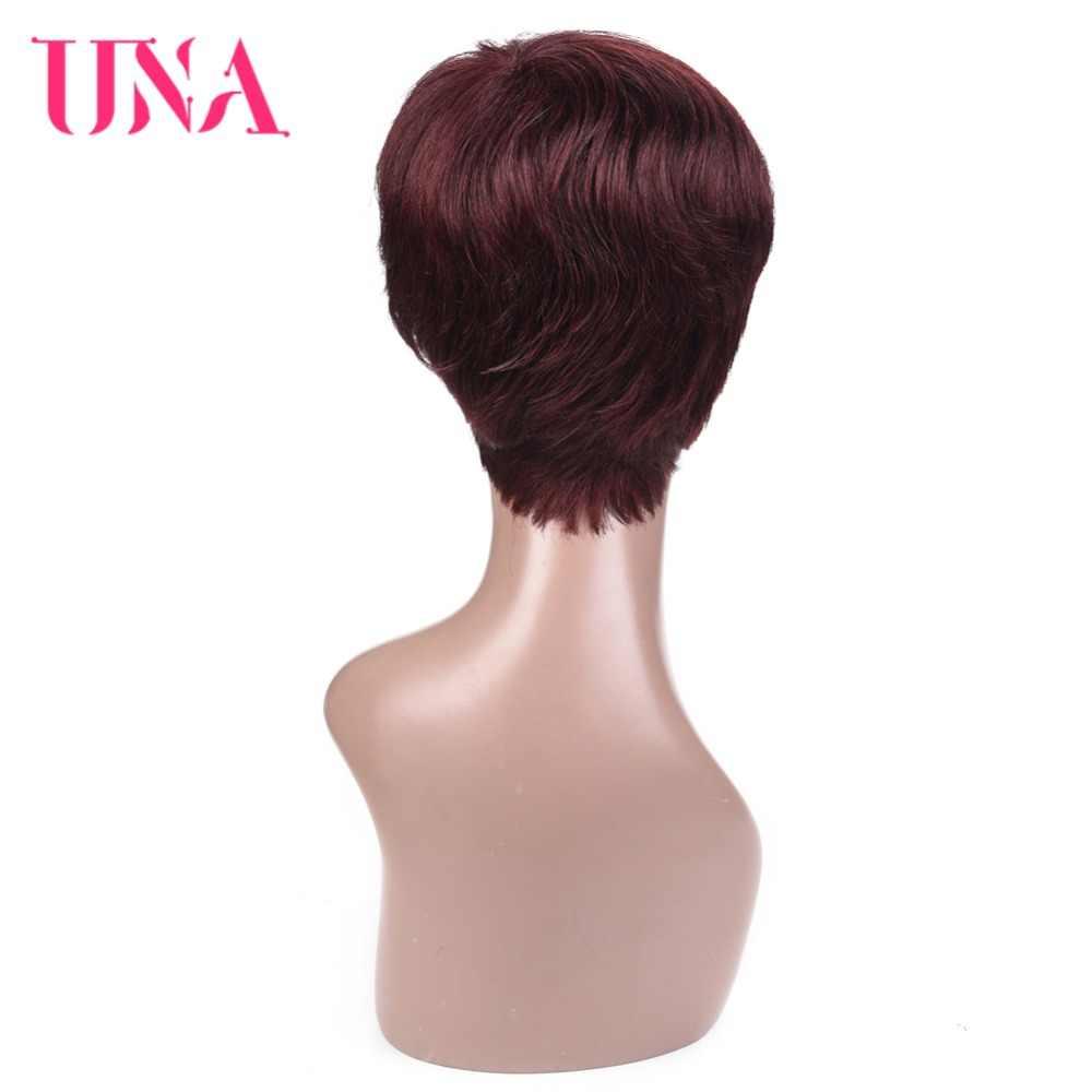 UNA короткие прямые парики малазийские прямые волосы парики не малайзийские волосы парики 120% плотность короткие натуральные волосы парики для женщин