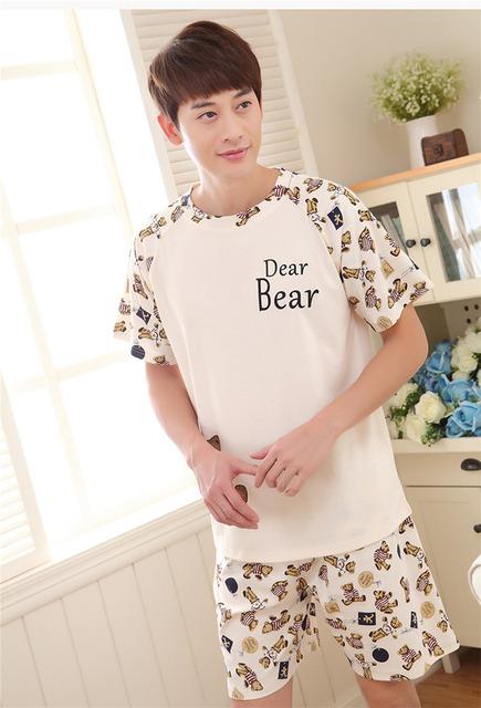Hombres Camiseta de Algodón Pijama Conjunto Ropa de Dormir Sexy Ropa Interior Para Hombre Camisetas Las Camisetas Camisetas Marca Casual Manga Corta Boxeadores