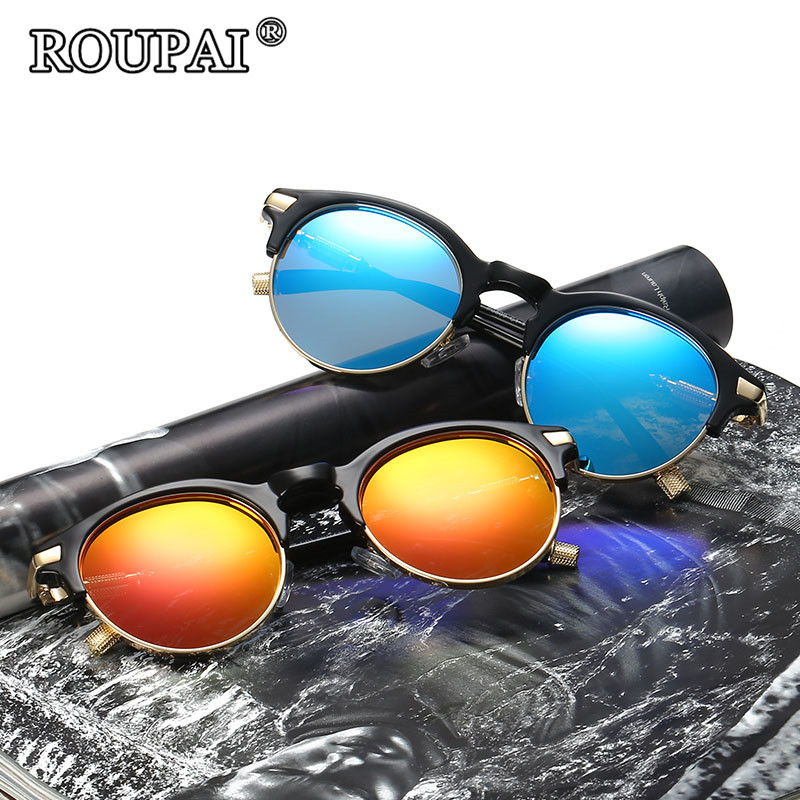 ROUPAI 2017 Steampunk Sunglasses Men Women Brand Designer Polarized Round Sunglass Gothic Retro Male Shadow Glasses Sun Oculos
