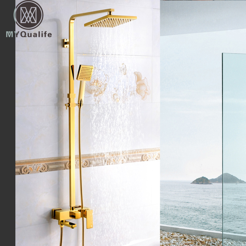 Golden Shower Faucet System Ssuare 8 Rain Shower Mixer Set with Hand Shower Sviwel Tub Spout Bath Shower Hot Cold Water Tap