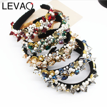 Levao Wide pearl hairband Hair Hoops Baroque Style Party Hair Bands Irregular Crystal Headband for Women Hair Accessories