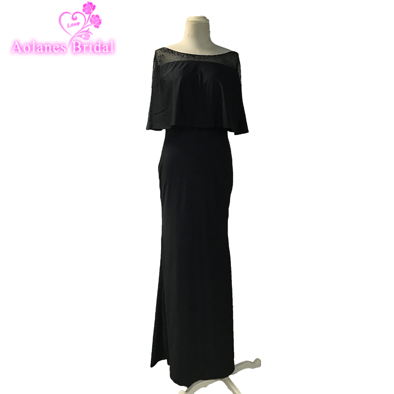 2018 Sexy Black Slim Long Prom Dresses Elegant O Neck Sleeves Floor Length Formal Evening Dresses Custom Made Party Gown