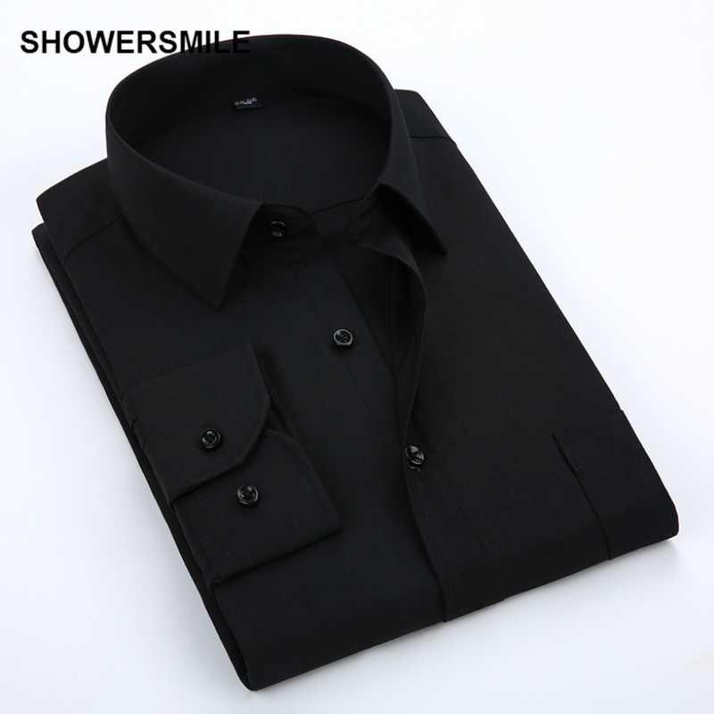 SHOWERSMILE camisa de vestir negro para hombre blanco gris azul marino ropa de negocios camisas formales sólidas Hombre Ropa de boda Social