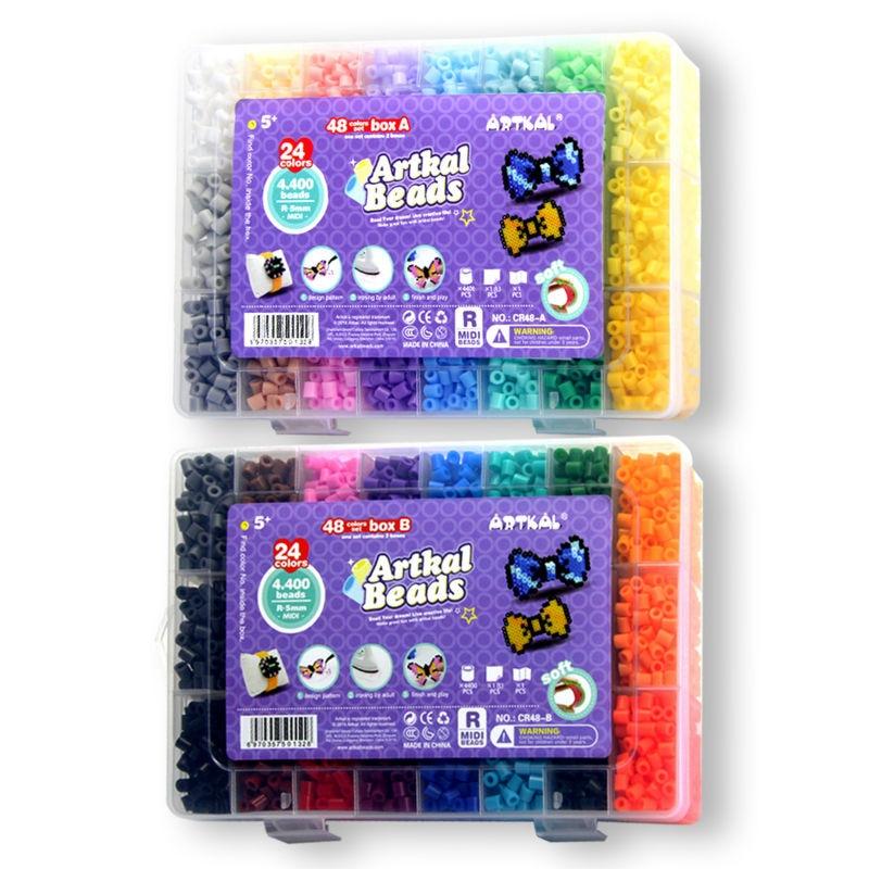 Artkal Beads 48 Colors Storage Box Set R-5mm Soft Hama Beads Diy Educational Toys CR48