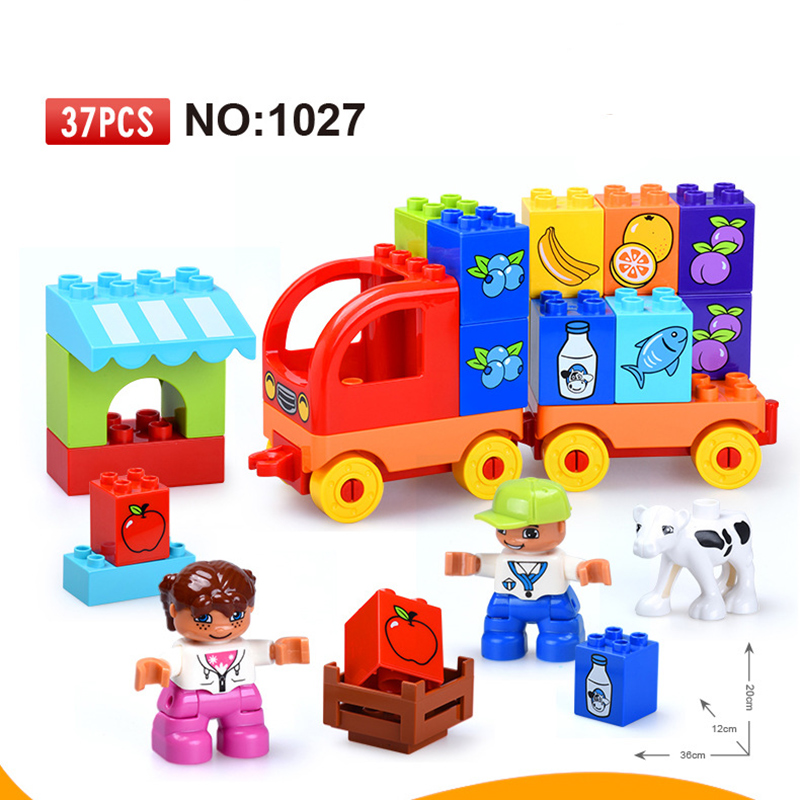 37pcs Big Blocks Fruit and vegetable trucks Building Blocks Set Kids DIY Creative Toys Compatible Duploe Large particle Toys обувь для дома big fruit diy